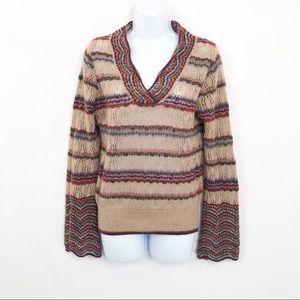 Benetton Sweater Crochet VNeck Striped Multi Fall